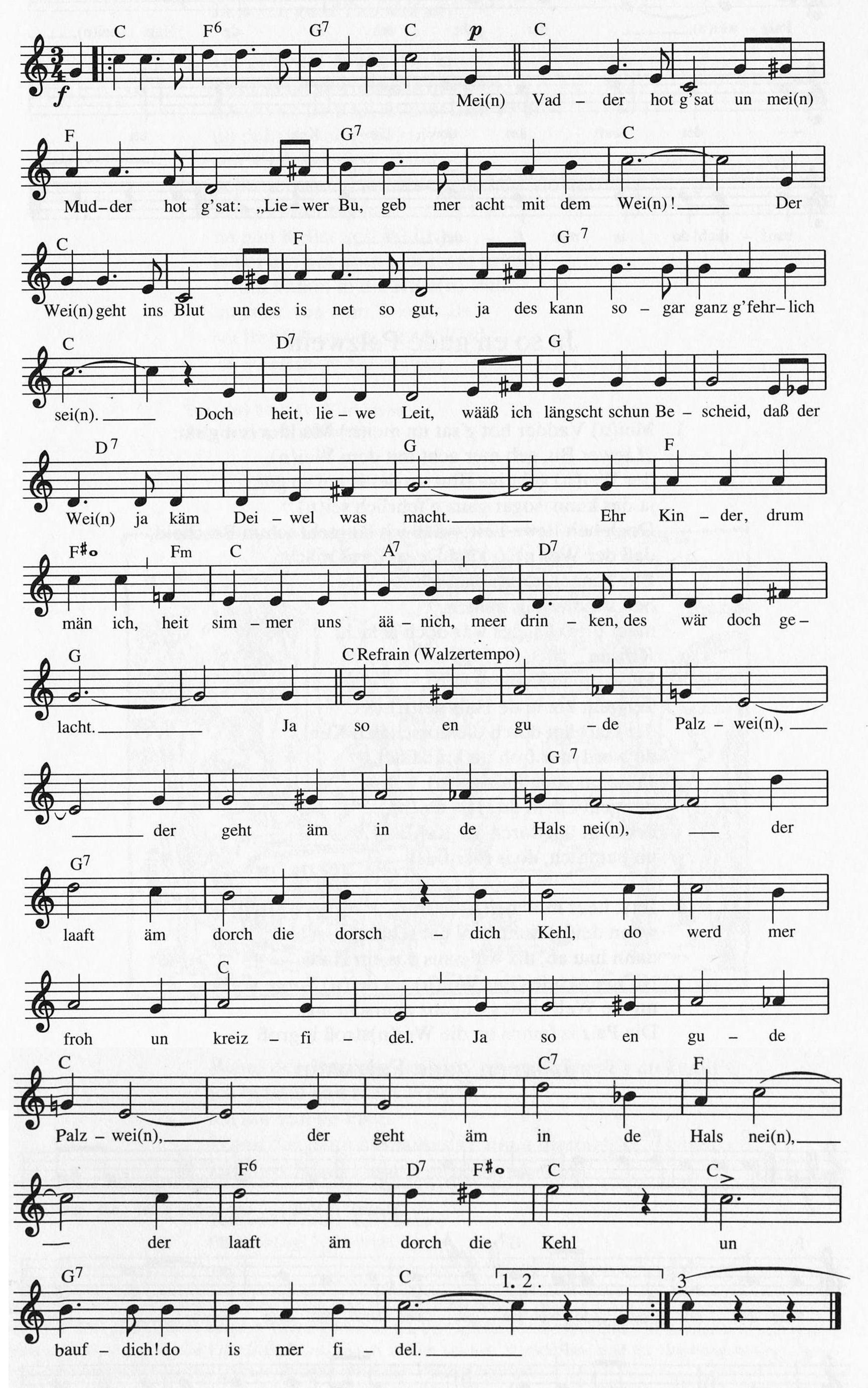 Liedtexte Pfalz